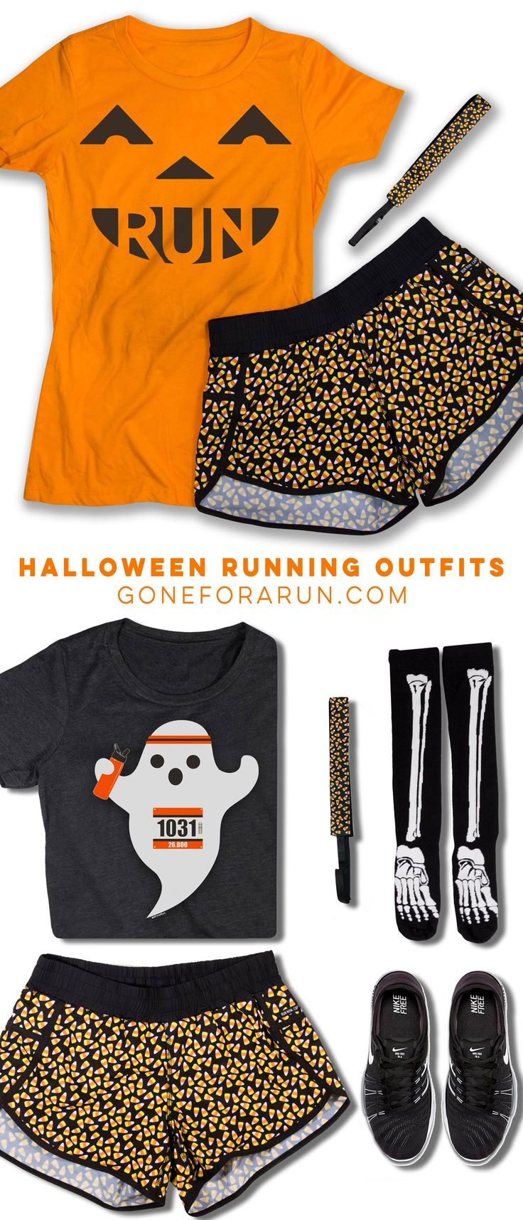 Halloween themed running outfit ideas to add some spooky fun to your runs and races. Halloween tees, tanks running shorts, socks and more.