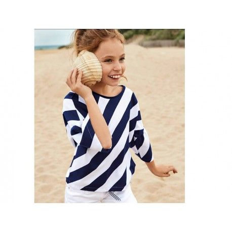 Sudadera de rayas anchas azules para niña Marca Elsy