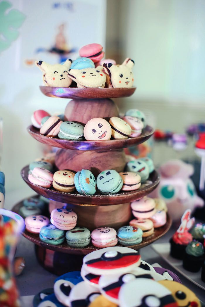 Pokemon macarons from a Pokemon Beach Birthday Party on Kara's Party Ideas | KarasPartyIdeas.com (17)