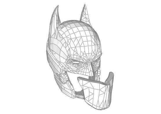 Life Size Batman Helmet for Cosplay Free Papercraft Download