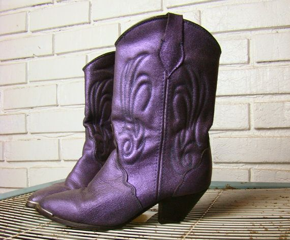 Metallic Purple Cowboy Boots- 1990's Suede Leather Western / Cowgirl Shoes- Low Heels- 6 1/2