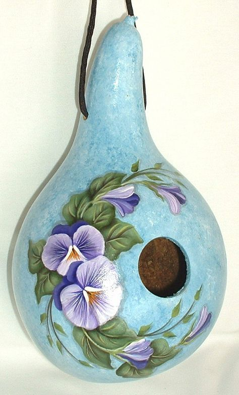 Pansies Gourd Birdhouse  Hand Painted Gourd by FromGramsHouse,