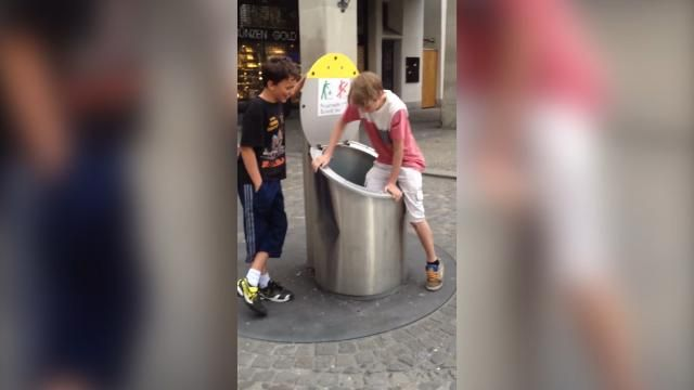 A young tourist is swallowed up by rubbish compactor in Zurich after filming video prank with friends.