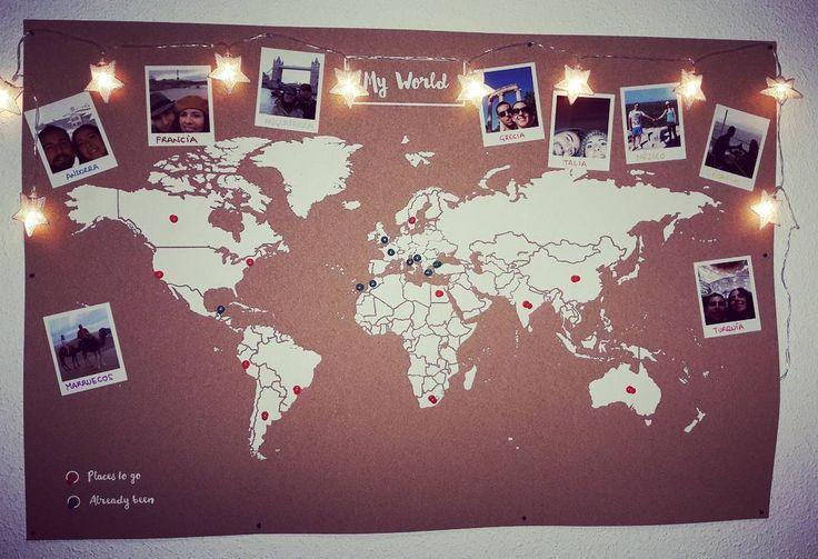 La vuelta al mundo. Corcho mapamundi. Guirnalda luminosa estrellitas. My world.