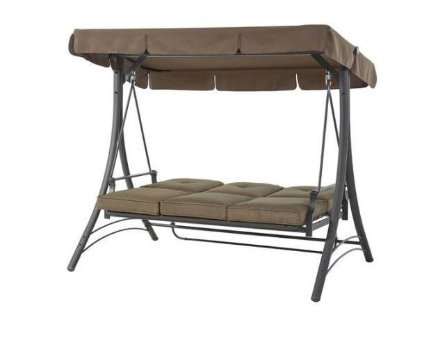 Patio Swing With Canopy Hammock Bed Chair 3 Person Padded Seats Outdoor  #Mainstays
