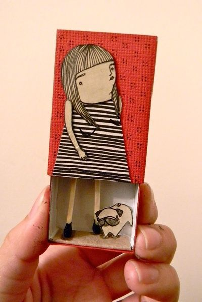 Matchbox Lady and Pug Art Print