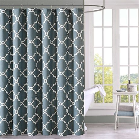 Refresh your bathroom with the decorative fretwork shower curtain. The scroll geometric print is simple, yet trendy with a light, poly/cotton basketweave fabric that softly filters light. The dusty blue color adds color with a soothing ambiance to your space.