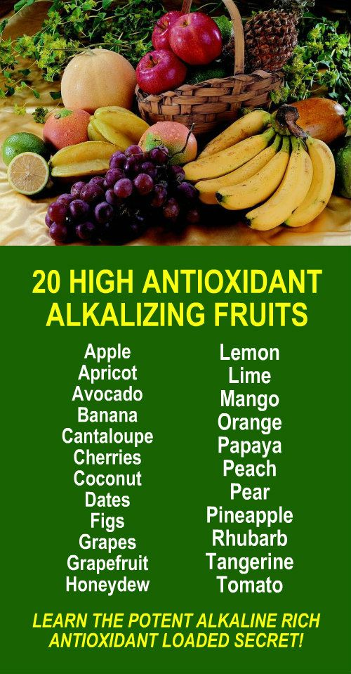 20 High Antioxidant Alkalizing Fruits. Learn about alkaline rich Kangen Water; the hydrogen rich, antioxidant loaded, ionized water that neutralizes free radicals that cause oxidative stress which can lead to a variety of health issues including disease s