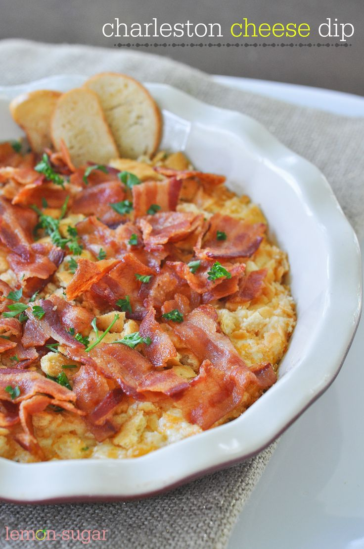 Charleston Cheese Dip - warm, bubbly cheese topped with buttery crackers and bacon!  Easy and delicious!!
