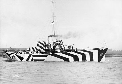 The Gunboat HMS KILDANGAN in dazzle camouflage, 1918. at Imperial War Museum Prints