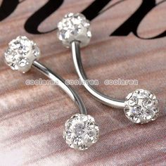 eyebrow piercing jewelry  replacement balls | ... Crystal 18GA Disco Ball Eyebrow Ring Stud Body Piercing Jewelry 1PC