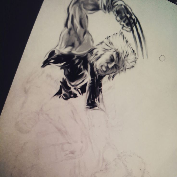 WIP Ilustration with Wolverine and Saber Saber Tooth