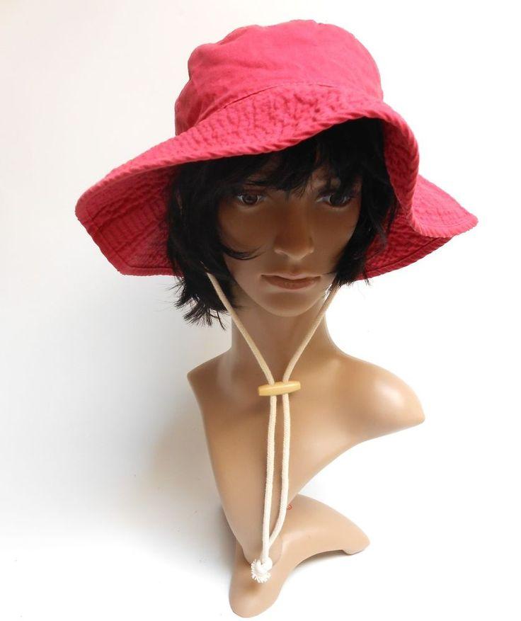SPERRY Top Sider Boonie Wide Brim Floppy Hat 100% Cotton Dark Pink 2-Layer