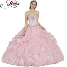 Je123 elegante rosa Vestidos De 15 Anos Vestidos Quinceanera Vestidos De 16 Anos beading vestido De baile Vestidos Quinceanera(China (Mainland))