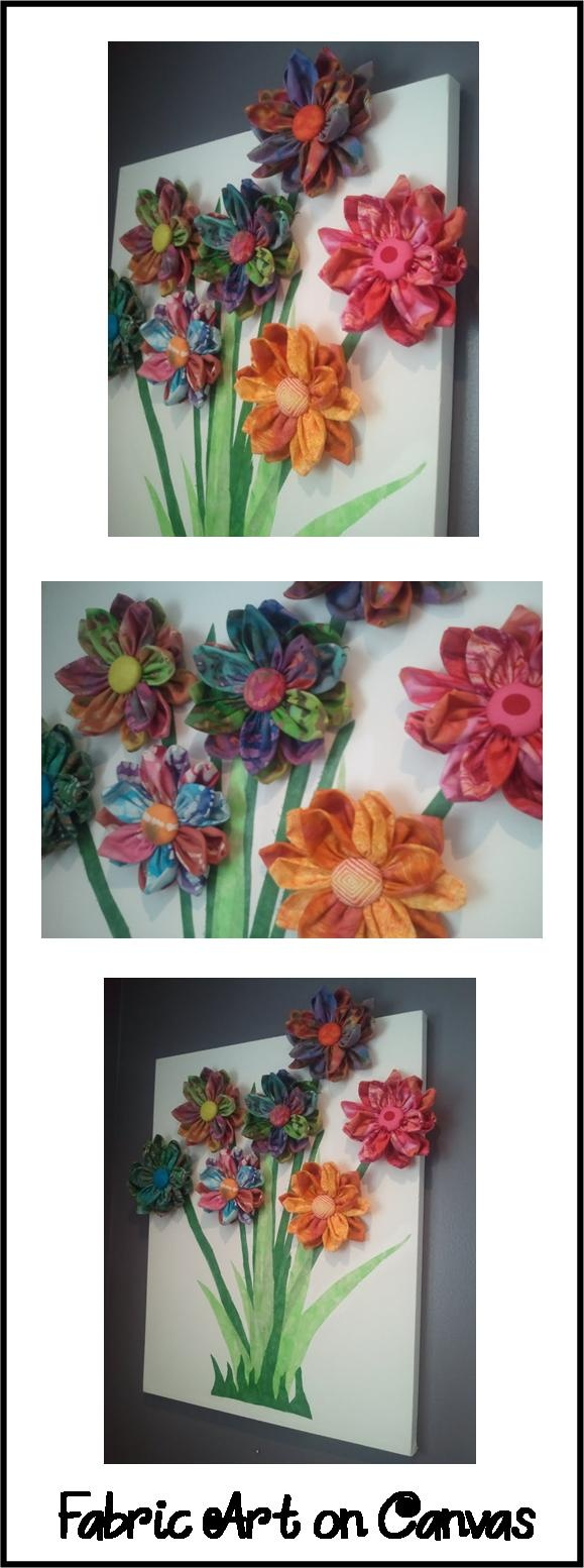 163 best fabric flowers images on pinterest fabric flowers flower fabric flower bouquet art on canvas fabric covered izmirmasajfo Image collections