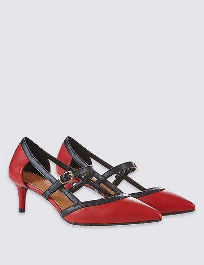 Wide Fit Kitten Heel Strap Court Shoes | Marks & Spencer London