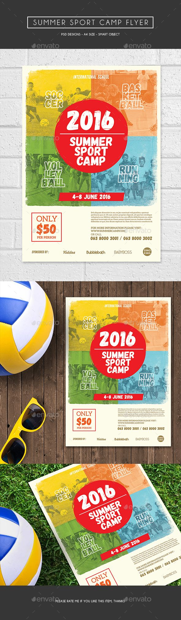 Summer Sport Camp Flyer Template PSD. Download here: http://graphicriver.net/item/summer-sport-camp-flyer/16030018?ref=ksioks