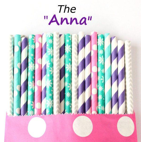 Frozen snowflake paper straws, Anna-set of 25, blue and purple frozen paper straws, purple and teal party straws, cake pop straws by GlitterSaturday on Etsy