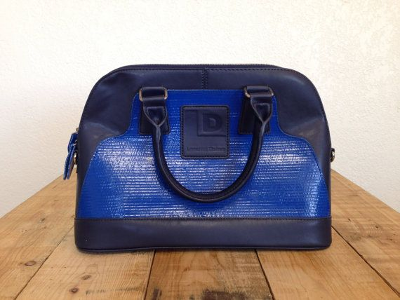 Upcycled blue layflat hose with navy leather by landfilldzine. Explore more products on http://landfilldzine.etsy.com