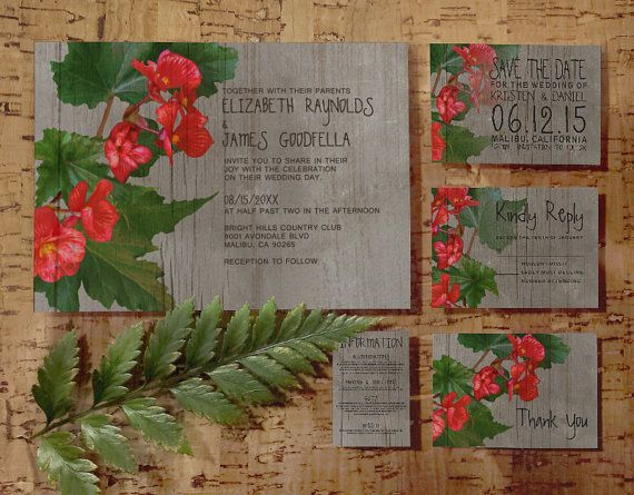 Rustic Begonia Wedding Invitation Set/Suite, Invites, Save the date, RSVP, Thank You Cards, Response Cards, Printable/Digital/PDF/Printed