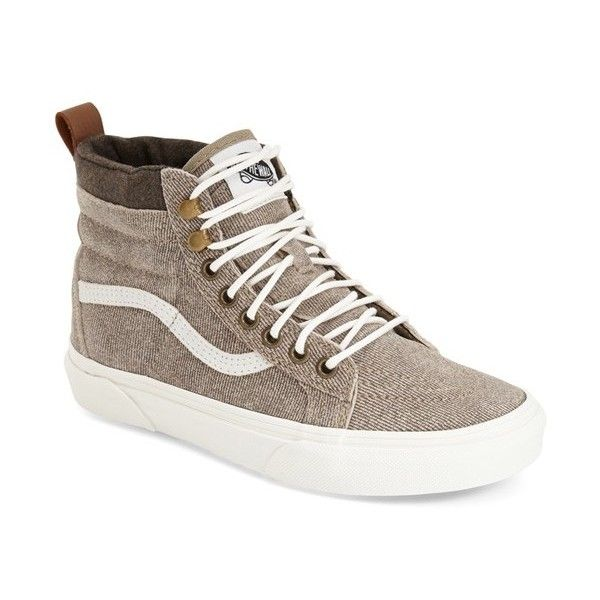 Vans 'Sk8-Hi - Mountain Edition' Sneaker ($80) ❤ liked on Polyvore featuring shoes, sneakers, coriander denim suede, leather shoes, leather lace up sneakers, vans high tops, leather lace up shoes and high top sneakers
