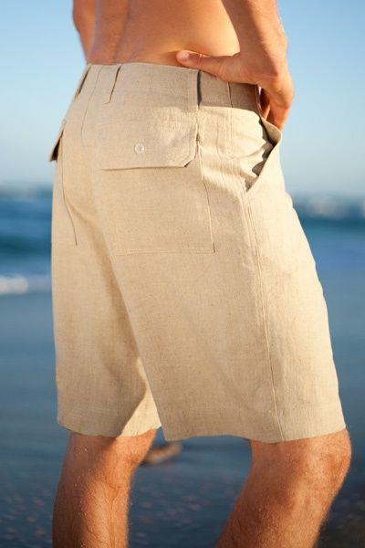 Maui Shorts - Men's Linen Short, Button Closure, Zip-Fly, Drawstring - Island Importer