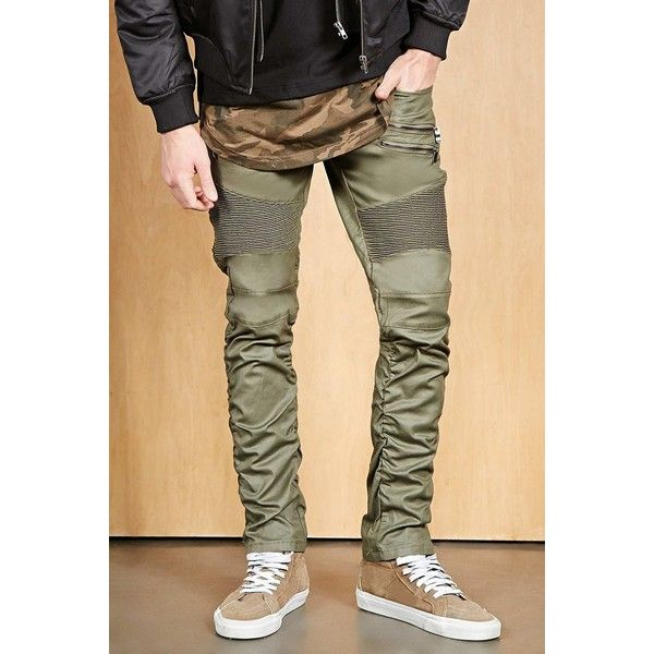 Forever21 Victorious Skinny Moto Jeans (190 BRL) ❤ liked on Polyvore featuring men's fashion, men's clothing, men's jeans, olive, mens flap pocket jeans, mens super skinny jeans, mens skinny fit jeans, mens olive green jeans and mens zipper jeans