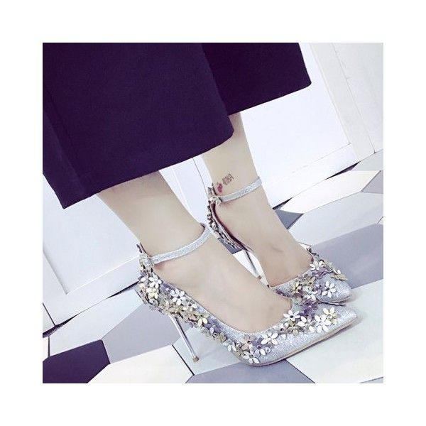 Silver 38 Gorgeous Ankle Strap and Flowers Design Pumps For Women ($33) ❤ liked on Polyvore featuring shoes, pumps, floral pumps, silver pumps, floral print pumps, ankle wrap pumps and silver ankle strap pumps