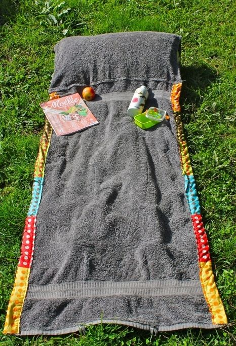 DIY summer project - Bag unwraps into beach towel blanket with pillow