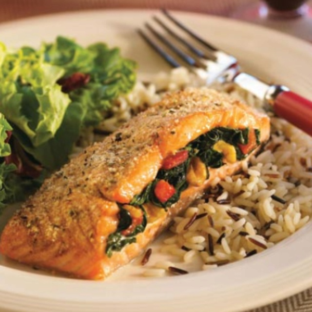 Spinach stuffed salmon