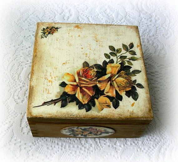 Caja de té madera de estilo vintage caja de por CarmenHandCrafts