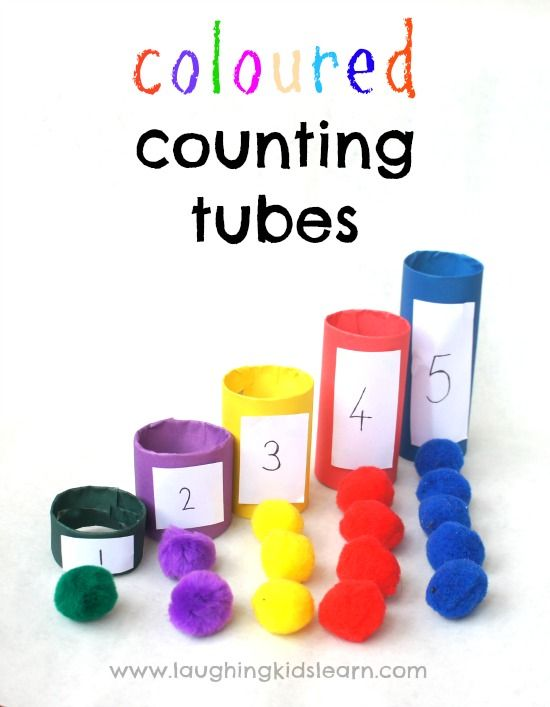 Coloured counting tubes. Great for learning about colours and numbers, as well as basic matching and one to one correspondence.