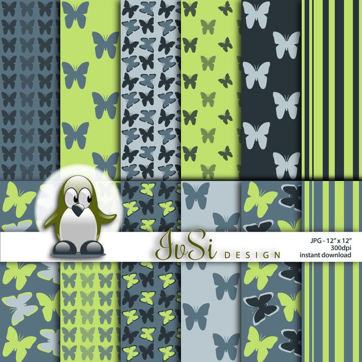 Butterfly digital paper pack, Gray butterfly patterns, butterfly background, butterfly scrapbook, green background, SALE until April 30th by IvSiDesign on Etsy