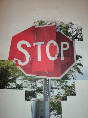 David Hockney. Stop! Gives the stop sign a 3 dimensional aspect as the photos are taken from different angles.