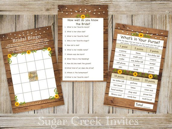 Wood Sunflower Bridal Shower Games What's in by SugarCreekInvites