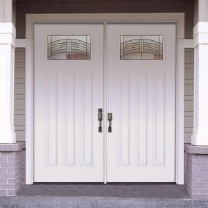 craftsman double front door. Feather River Doors 74 In. X 81.625 Rochester Patina Craftsman  Unfinished Smooth Right-Hand Inswing Fiberglass Double Prehung Front Door Craftsman Double Front Door D