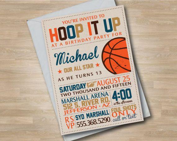Invitation anniversaire de basket-ball, adolescent ou enfant basket Invite…
