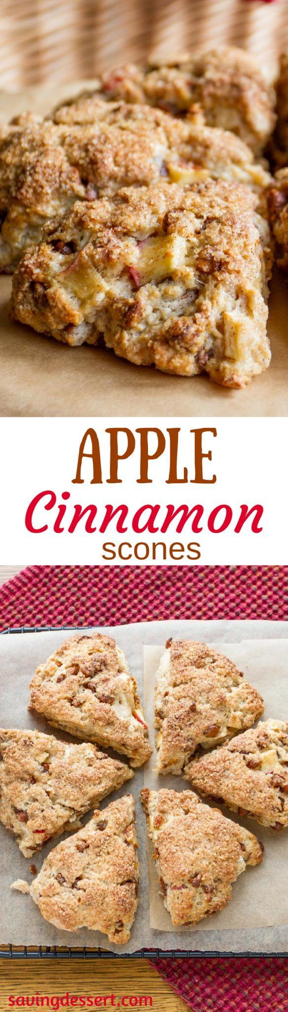 Apple Cinnamon Scones ~light and fluffy with a crispy sweet crust, large chunks of apple and delicious cinnamon chips! savingdessert.com #savingroomfordessert #apple #applescones #scones #breakfast
