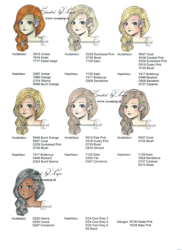 Gezichts- en haarkleur voorbeelden Promarkers. Haarkleur van licht naar donker nr. 2