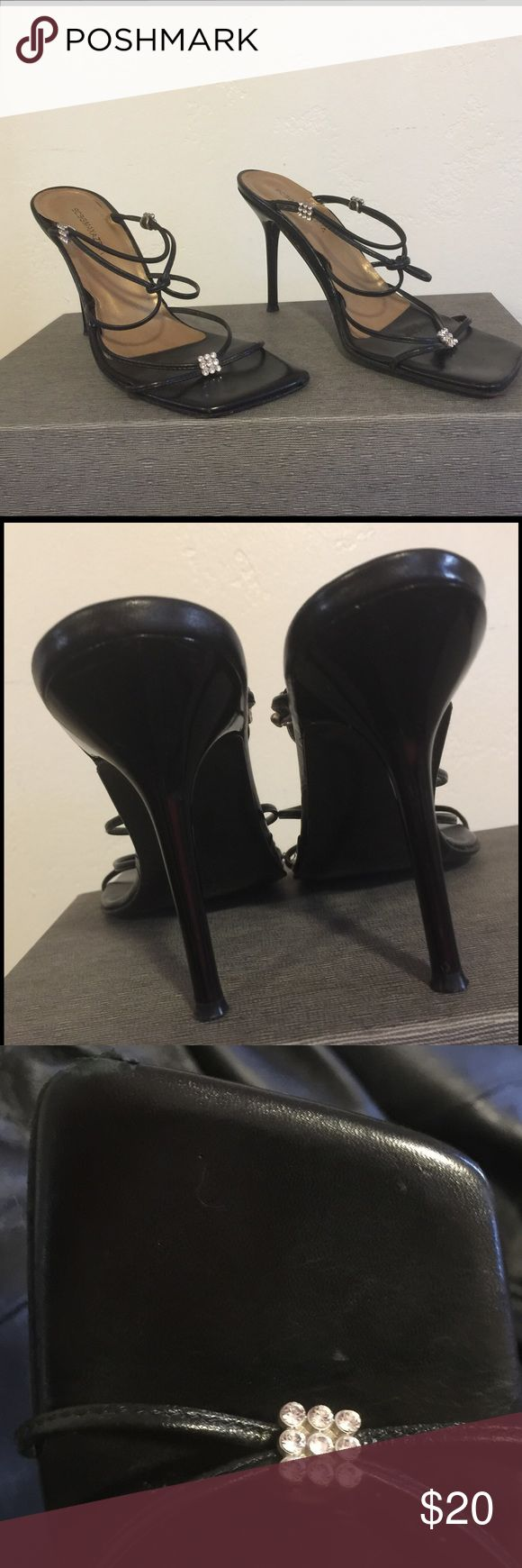 BCBG maxazria shoes Beautiful black strappy shoes. Great for evening or anytime really. Gently used with minor wear on tip of shoe and inside a bit but very minor. The heels are in great shape. BCBGMaxAzria Shoes Sandals