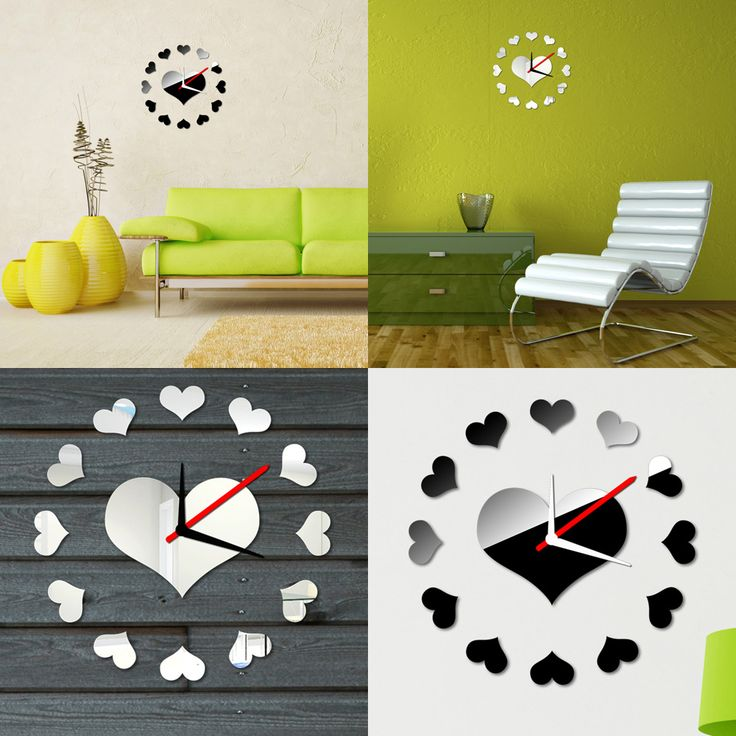 Loving Heart Wall Clock Sticker Set Creative DIY Mirror Effect Acrylic Glass Decal Home Removable Decoration