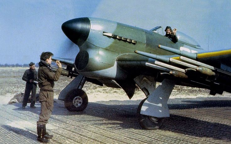 A rare colour image of a Hawker Typhoon.