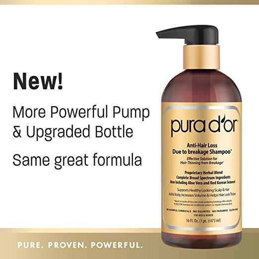 [$28.49] PURA D'OR Anti-Hair Loss Shampoo (Gold Label), Effective Solution for Hair Thinning & Breakage, NEW & IMPROVED PUMPS, 16 Fluid Ounce