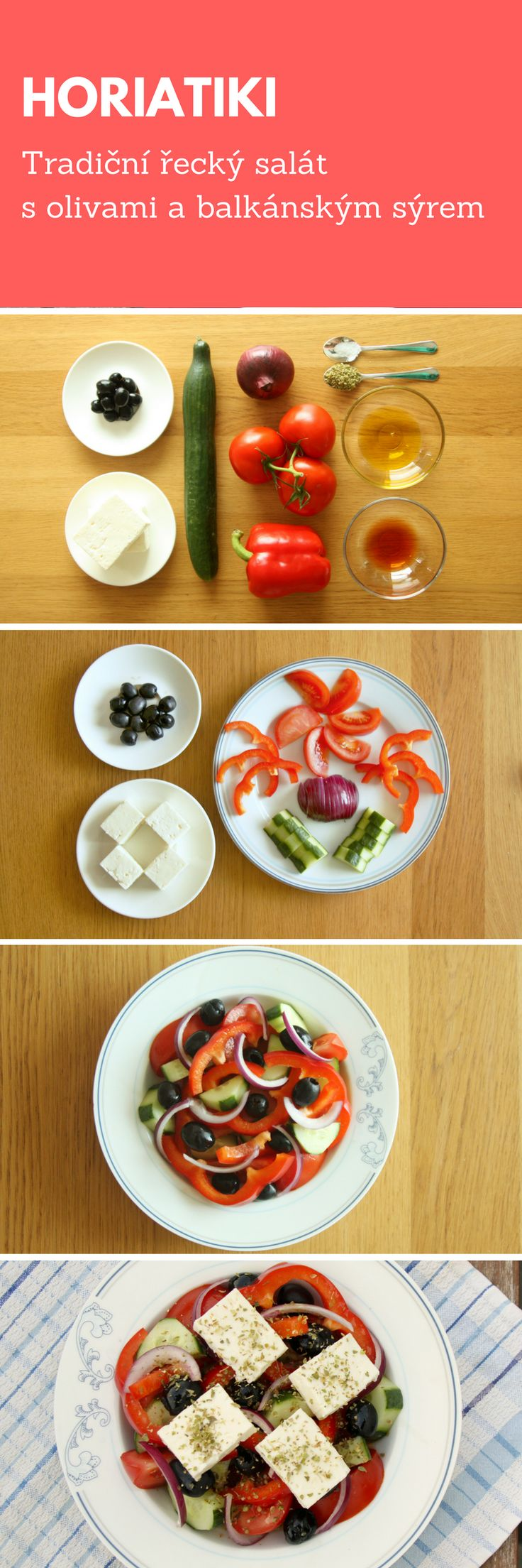 HORIATIKI - tradiční řecký salát s olivami a balkánským sýrem. #horiatiki #reckysalat #salat #salaty #recko #olivy #olivovyolej #cerneolivy #balkanskysyr #syr #paprika #okurka #okurek #rajce #cibule #oregano #sul