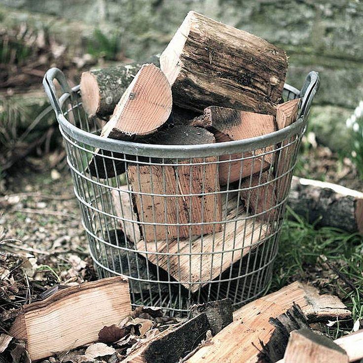 Large Vintage Metal Log Basket