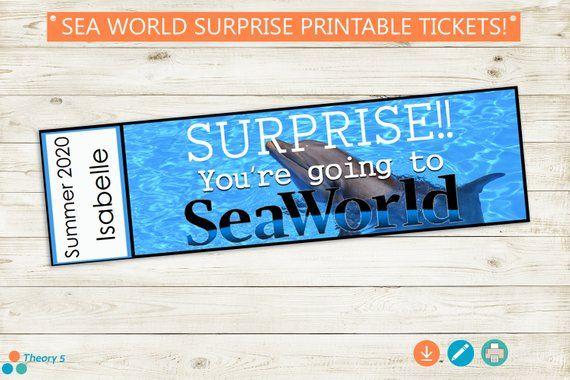 Sea World Trip Reveal Tickets Adobe Editable Pdf Custom Name Dates Digital File Diy Vacation Reveal Pass Coupon Gift Person Sea World World Traveler Trip