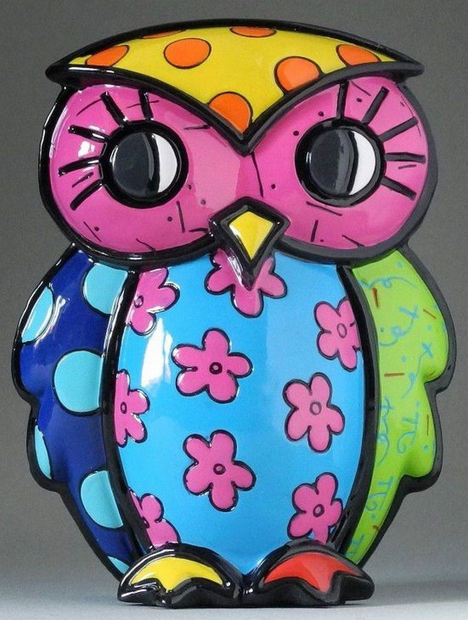 "ROMERO BRITTO 'Truth (Flowers)' Owl Figurine / Sculpture 5"" Pop Art **NEW**"