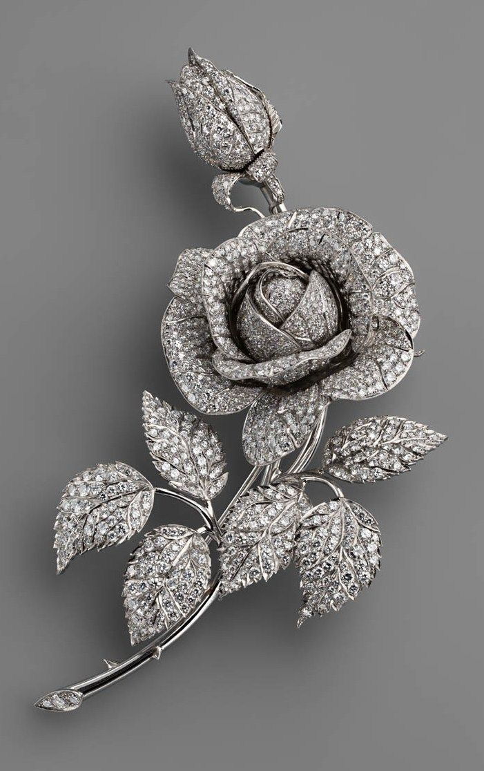 "Fabergé. Brooch ""Rose"". Platinum, diamonds. It was made for Empress Alexandra Feodorovna of Russia."