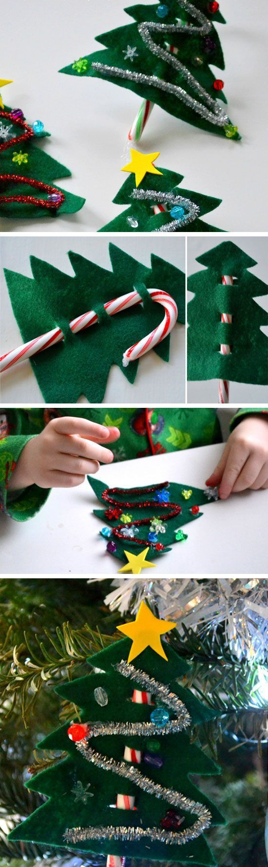 Candy Cane Christmas Trees   30+ DIY Christmas Crafts for Kids to Make