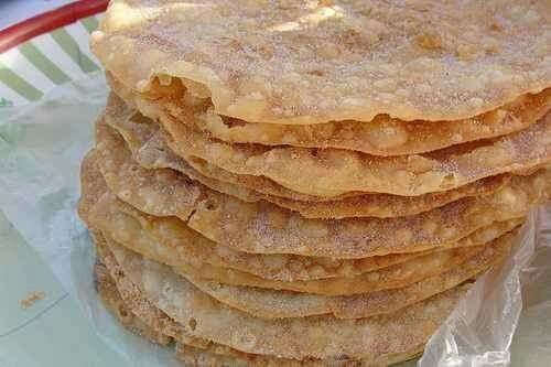 Authentic Mexican Bunuelos  4 cupsflour 1 tsp.baking powder 1 tsp.salt 1/2 cupsugar 2 eggs 1 cupmilk 4 Tbl.(1/2 stick) unsalted butter oil for frying cinnamon-sugar mix  In large bowl, mix flour, baking powder, salt and sugar. In smaller bowl, beat eggs and milk. Add this gradually, beating, to flour mixture. Add a half a stick melted butter, beat. Place dough on floured surface and knead til silky and elastic. Roll into balls or ropes, and flatten with the palm of your hand. Fry in hot oil…